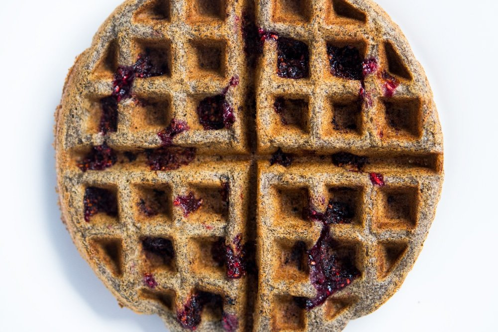 Gluten Free Buckwheat Waffles with Raspberry Swirls ?