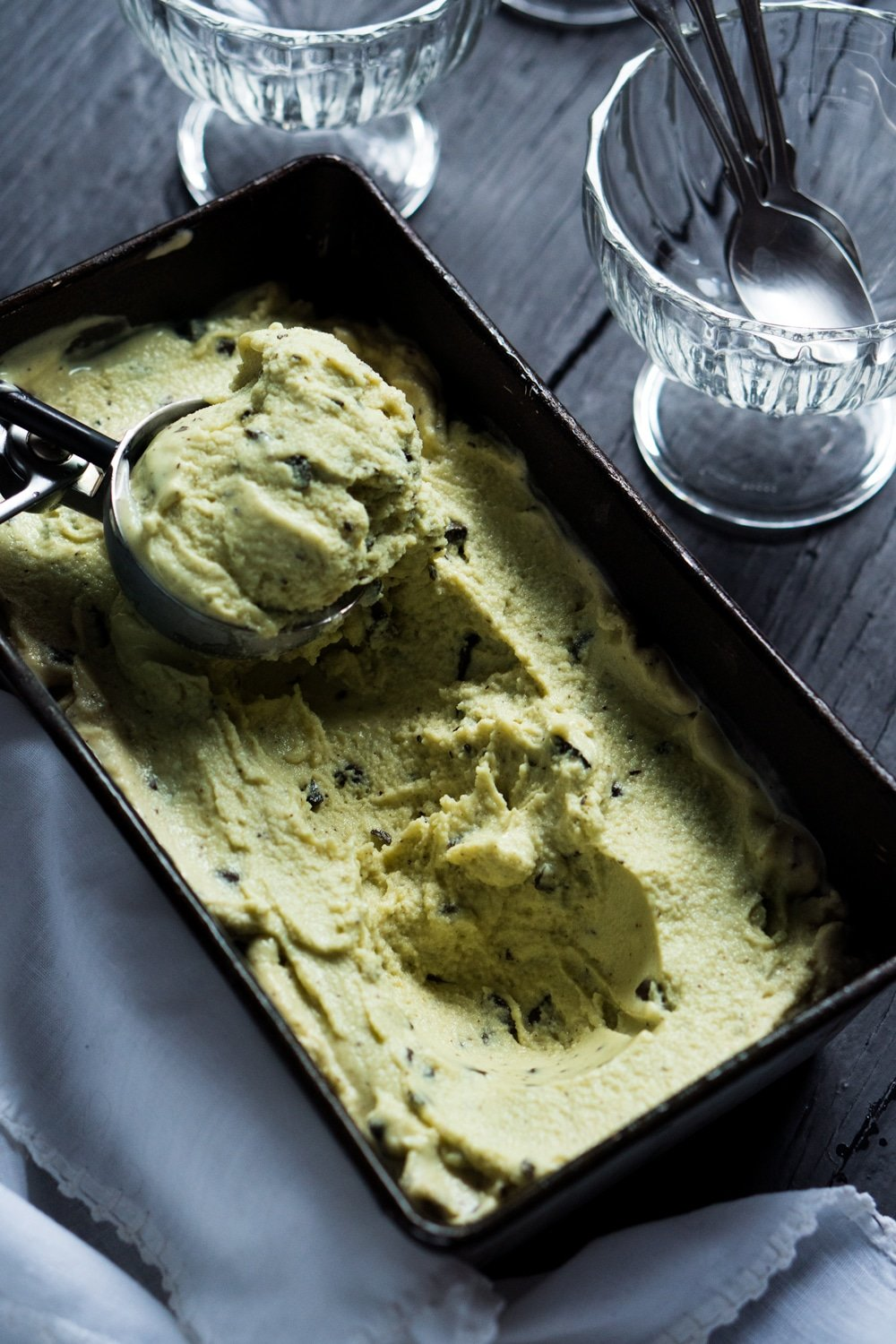 No-Churn Vegan Mint Chocolate Chip Frozen Yogurt ?