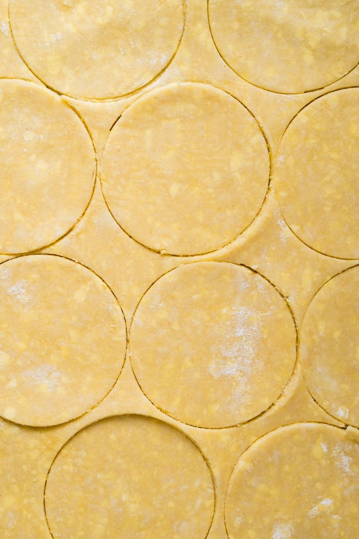 Gluten free & keto pie crust being cut out into rounds