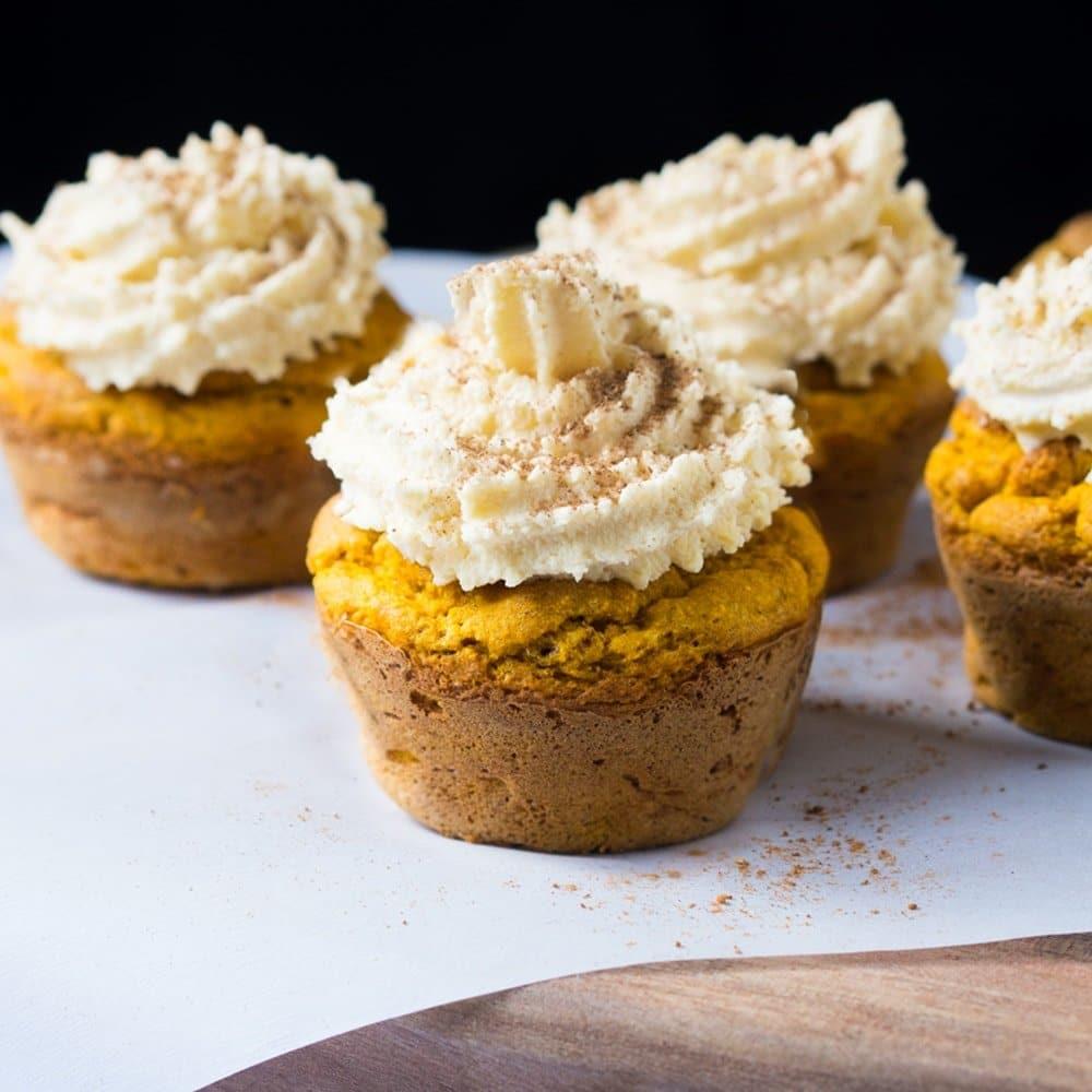 Pumpkin Cupcakes Suuuper Tender & Moist Keto Pumpkin Cupcakes