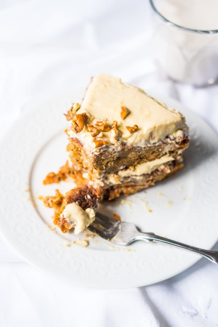 Gluten Free, Paleo & Low Carb Carrot Cake With Fork