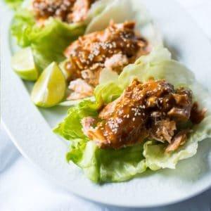 Paleo & Keto Salmon Teriyaki Lettuce Wraps ?