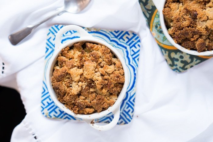 Freshly baked individual keto mock apple crumbles