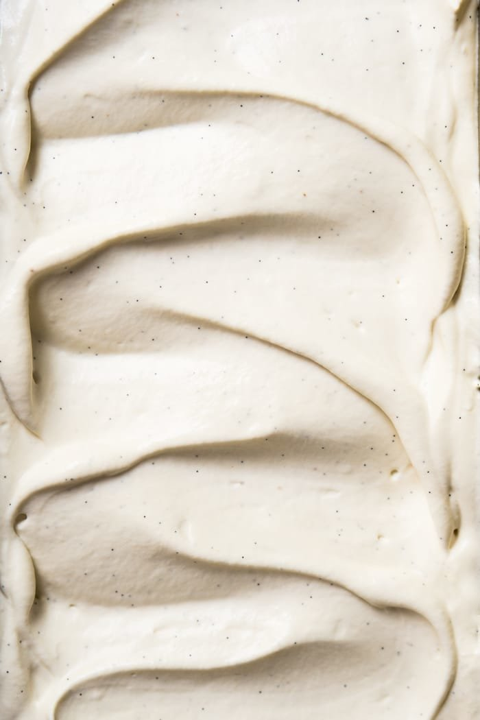 Closeup creamy keto ice cream with vanilla bean