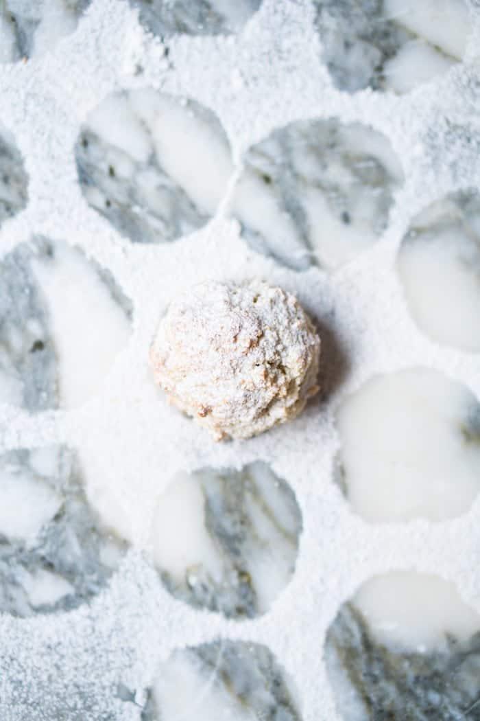 A single remaining keto amaretti cookie