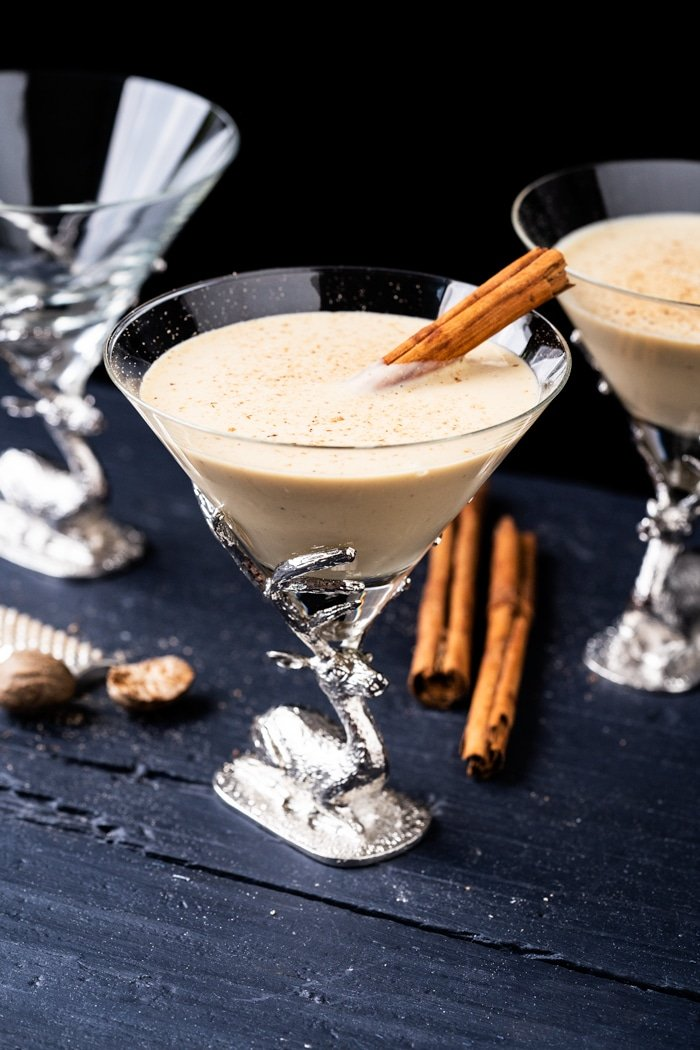 Homemade paleo and keto eggnog in Christmas glasses