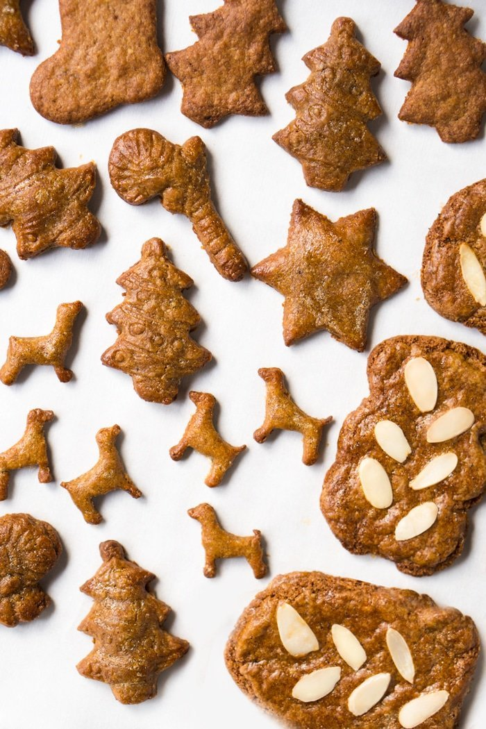 Keto speculoos cookies in different shapes: Christmas Tree, dogs, candy canes