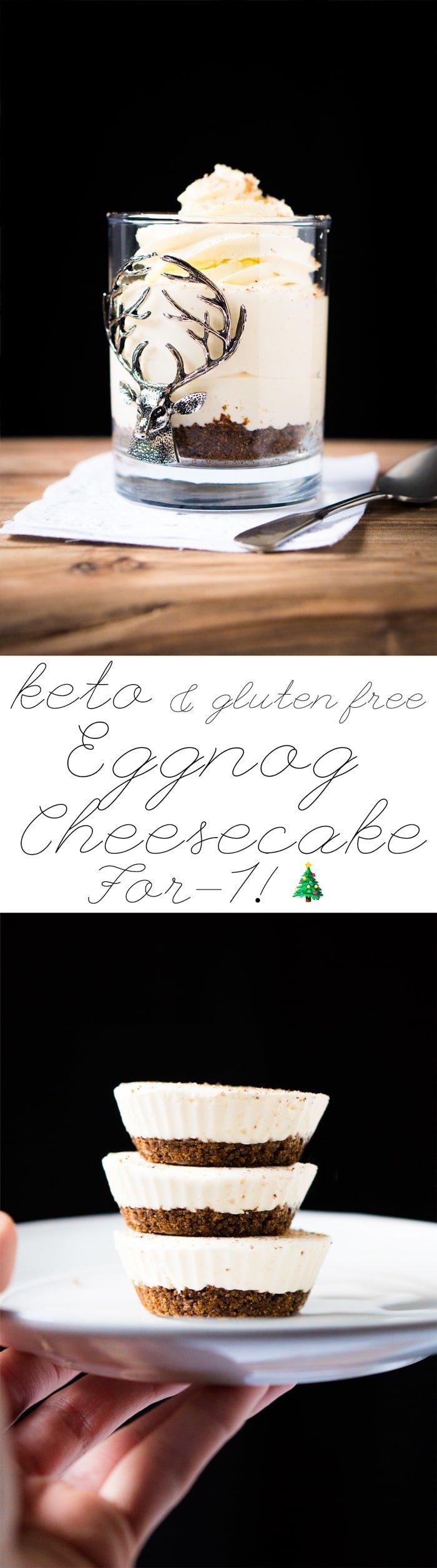 No-Bake Keto Eggnog Cheesecake For 1! 🎄 #ketocheesecake #lowcarbcheesecake