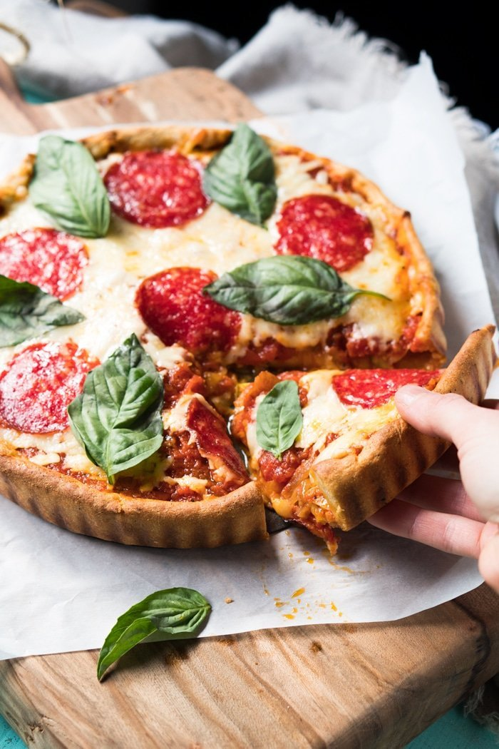 Gluten Free & Keto Deep Dish Pizza 🍕 #ketopizza #glutenfreepizza #deepdishpizza