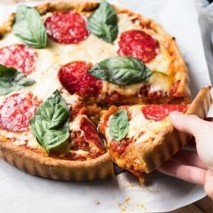 Crazy keto dough used for deep dish pizza
