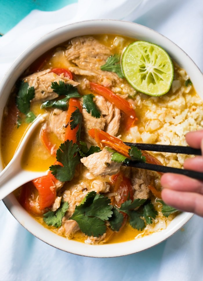 Whole30, Paleo & Keto Thai Coconut Curry Chicken #keto #ketorecipes #lowcarb #dairyfree #glutenfree #paleo #healthyrecipes #whole30 #curry