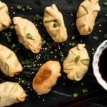 Gluten Free, Grain Free & Keto Dumplings  🍜 Super tender, lightly fried and filled with steamed ginger pork! #keto #glutenfree #grainfree #lowcarb #healthyrecipes