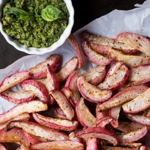 Paleo & Keto Roasted Radish Wedges (i.e. 'Potatoes') With Pesto 🍃 #keto #ketodiet #lowcarb #ketorecipes