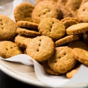 Gluten free and keto cheddar cheese crackers