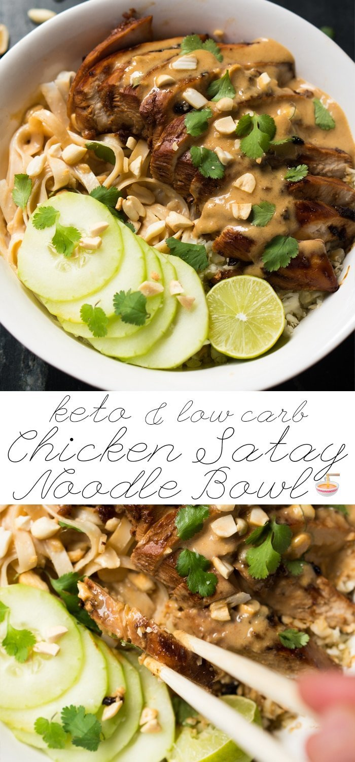Low Carb & Keto Chicken Satay Noodle Bowl 🍜 Easy-peasy! #keto #ketodiet #lowcarb #healthyrecipes