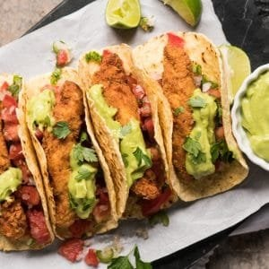 Gluten Free, Low Carb & Keto Fish Tacos 🐟 extra crisp! #keto #lowcarb #dairyfree #healthyrecipes #ketodinners #tacos #mexican
