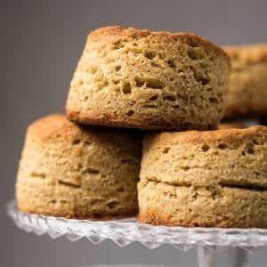 Staked gluten free & keto biscuits showing layers of flakiness