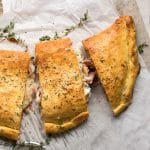 Keto calzone with prosciutto and cheese