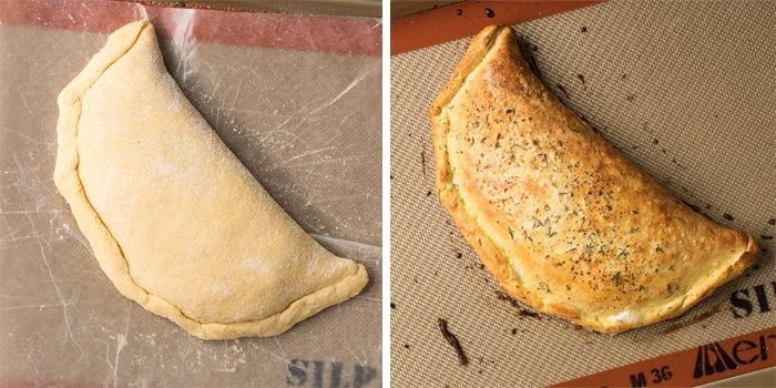 Keto calzone on a baking tray before and after baking