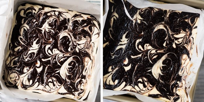 The keto cheesecake brownie swirls pre and post bake