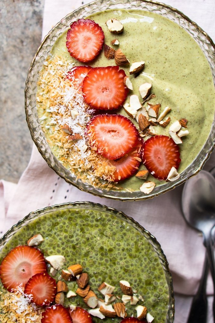 Overnight keto chia pudding with matcha and fresh berries