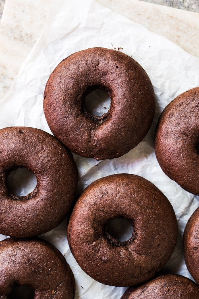 Unglazed keto chocolate donuts