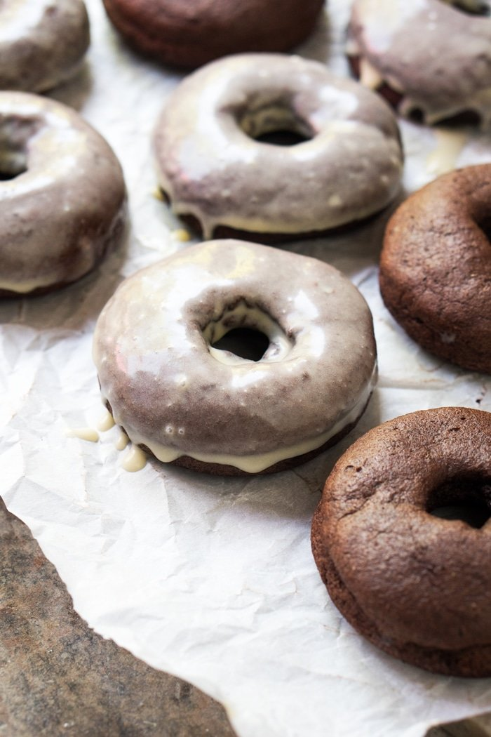 Glazed Gluten Free, Dairy Free & Keto Chocolate Donuts 🍩 Just 2g net carbs! #keto #lowcarb #dairyfree #donuts #healthyrecipes #doughnuts #ketodessert #gluten free