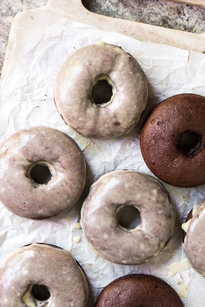 Top shot glazing keto chocolate donuts