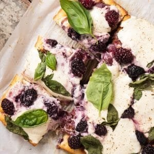 Gluten Free, Low Carb & Keto Three Cheese Blackberry Focaccia #keto #glutenfree #lowcarb #healthyrecipes #focaccia #pizza