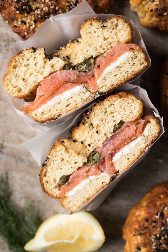 Gluten Free & Keto Bagels with cream cheese and salmon