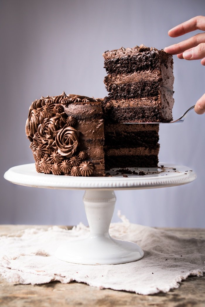 Tiered keto chocolate cake with buttercream frosting