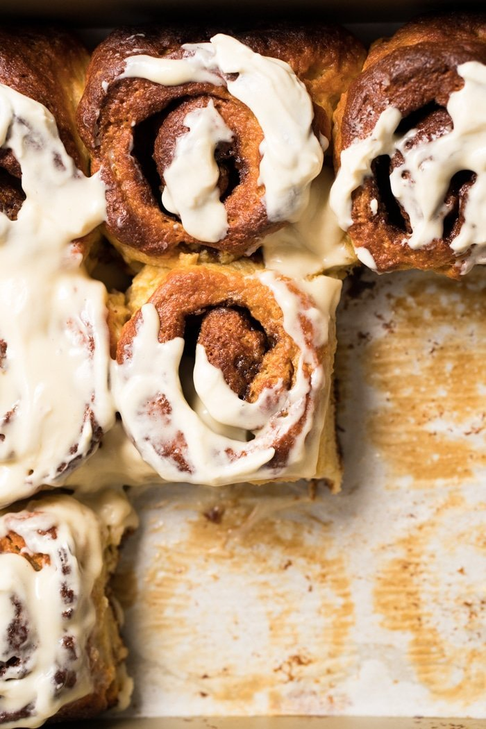 Paleo & keto cinnamon rolls with cream cheese glaze