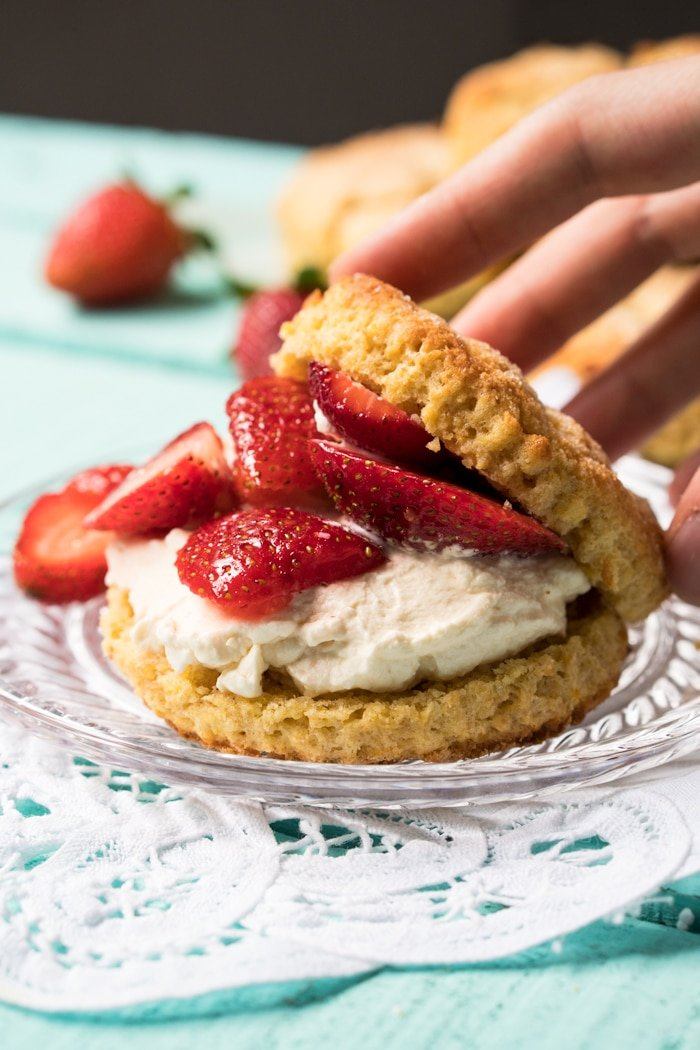 Reaching in for a keto strawberry shortcake