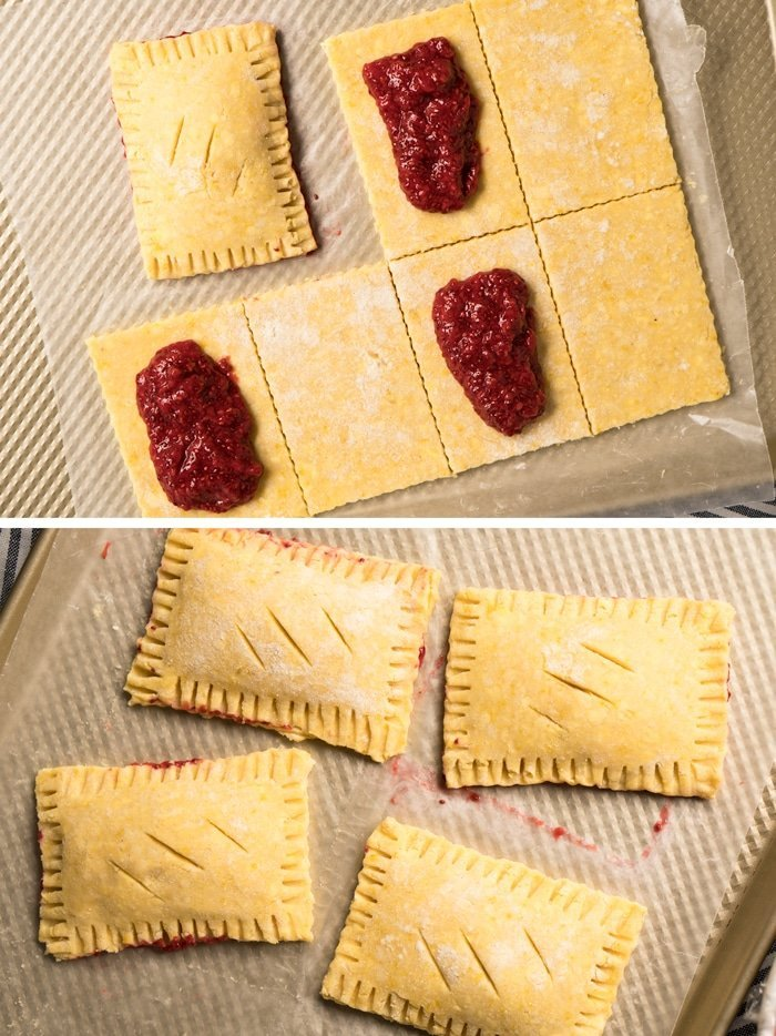 How to assemble the pop tarts with the sugar free strawberry jam