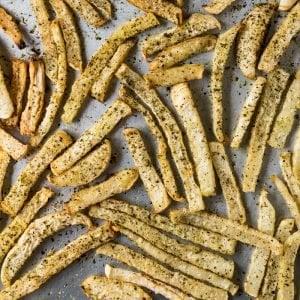 Freshly baked Keto fries with jicama
