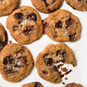 Freshly baked keto chocolate chip cookies with flaky sea salt