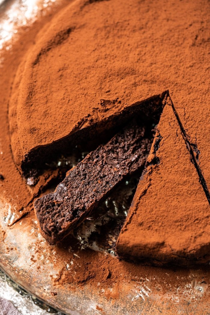 Sliced paleo and keto flourless chocolate cake