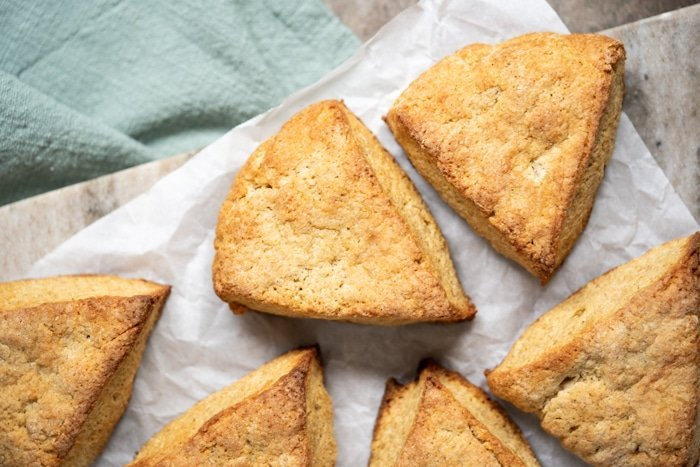 Freshly baked gluten free and keto scones on parchment paper