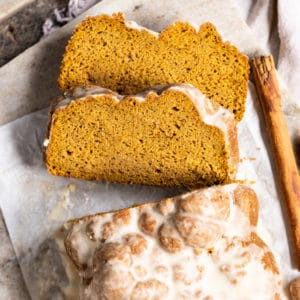 Keto pumpkin bread slices with glaze