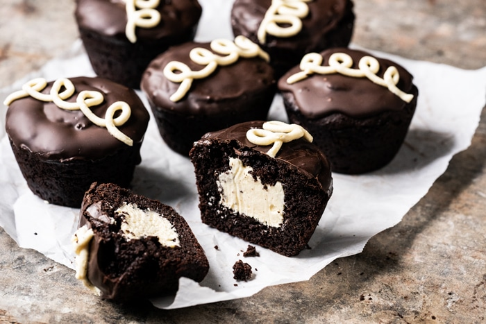 Keto hostess cupcakes with vanilla buttercream filling