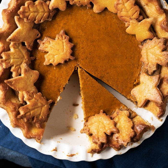 Keto pumpkin pie with a flakey pie crust