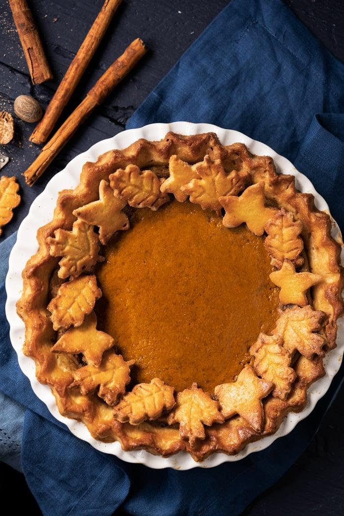 Freshly baked keto pumpkin pie