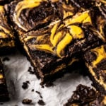 Keto pumpkin brownies with swirls