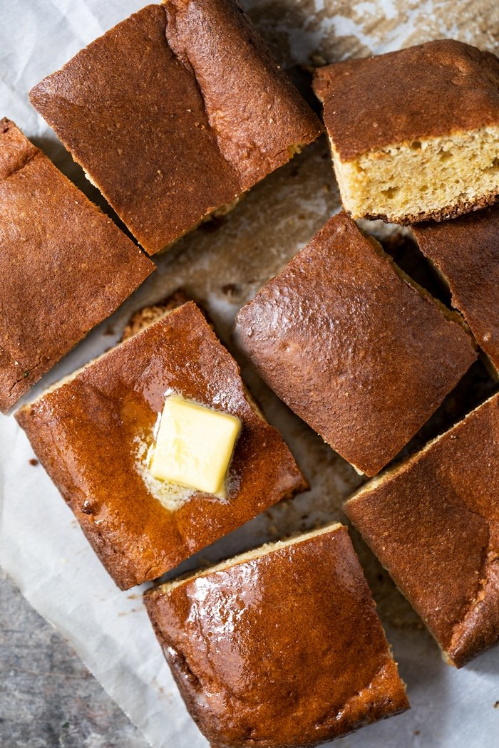 Freshly baked sliced grain free & keto cornbread