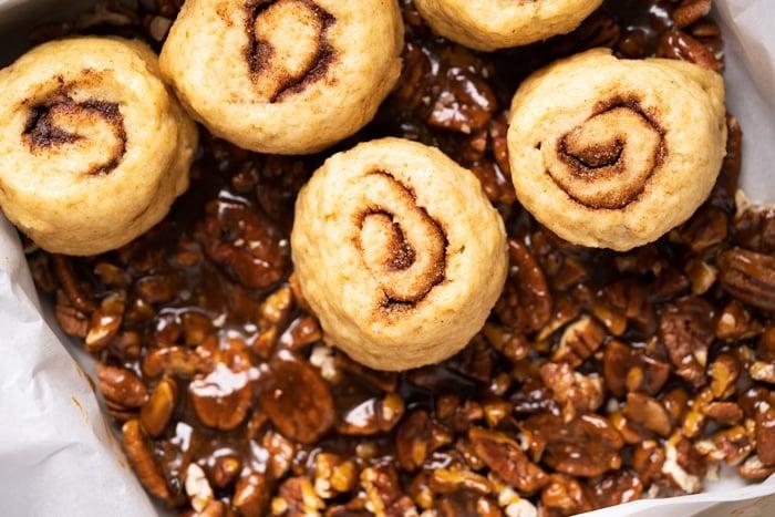 Unbaked gluten free & keto pecan sticky buns