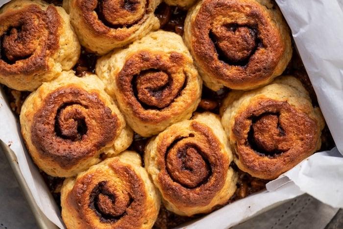 Freshly baked keto pecan sticky buns