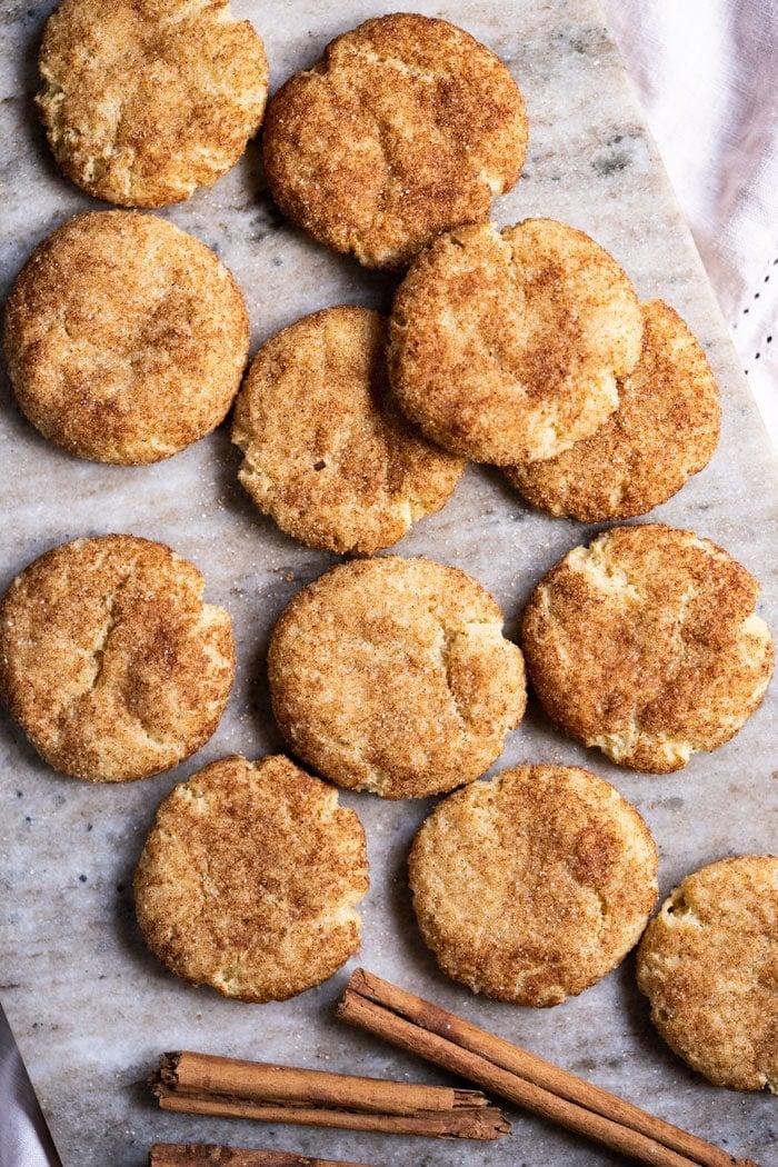 Freshly baked keto snickerdoodle cookies