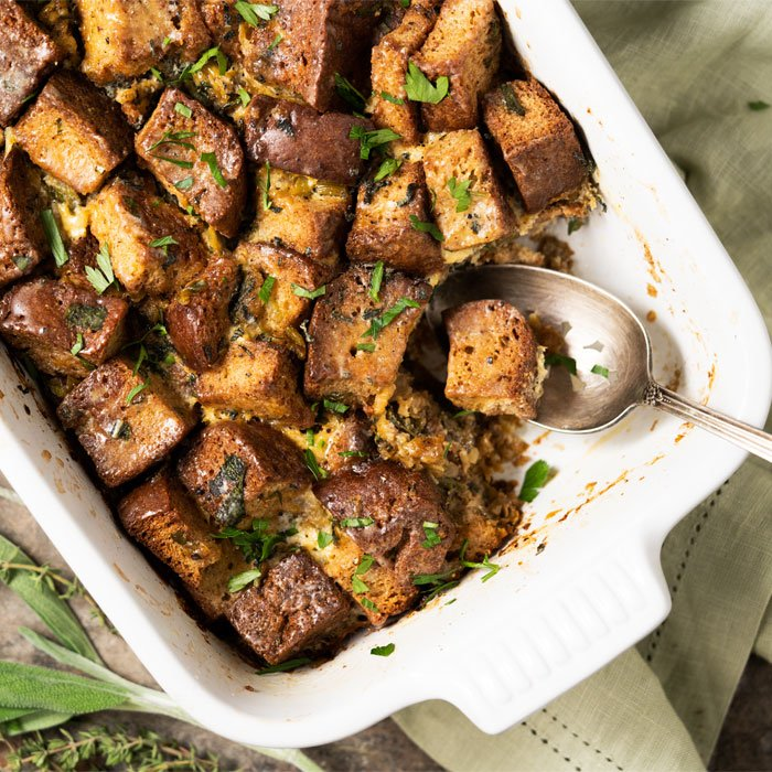 Keto Stuffing (i.e. Dressing) with a serving spoon