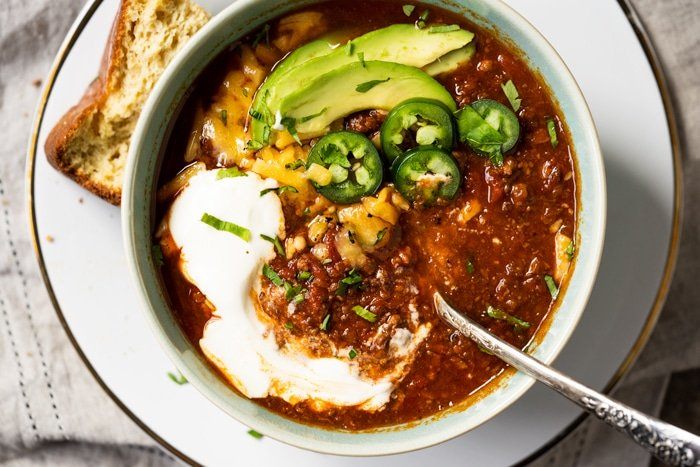 Paleo and keto chili with 'cornbread' on the side