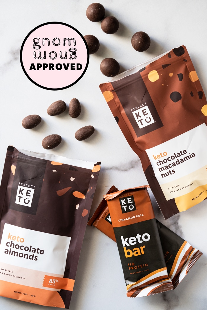 Perfect Keto chocolate covered almonds, macadamia nuts and cinnamon bars